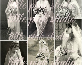 Vintage Brides DIGITAL Collage Sheet (printable, instant download)