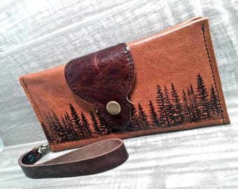 Leather Wallet Long fits Passport/ Phone with Wrist Strap & Zipper Pocket in Sienna Brown/ Pine Tree Print * SALE * Coupon Codes