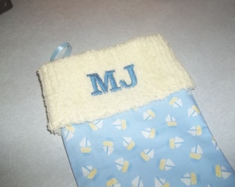 Sweet Baby Sailboat and Chenille Handmade Christmas Stocking with FREE US SHIPPING