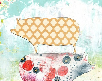 Pig Art Print , Mixed Media Collage Art Print , Kitchen Wall Art for Your Farmhouse Decor