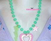 Cute Kawaii Pastel Green and Pink Heart Lightning Bolt Necklace