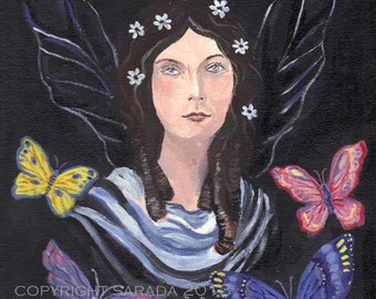 Gothic butterfly flower fairy original art 9 x 12 acrylic painting fantasy witch spring nature wicca pagan woodland magic pink purple easter