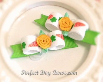 Cute Easter Bunny Carrots Dog Bow Pair for Maltese and Puppies