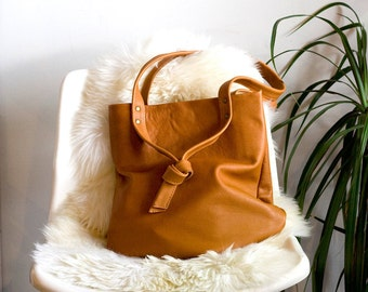Soft Tan Leather Shoulder Bag, Leather Purse, Handbag with Knotted Straps: THE TESSER in CARAMEL Tan Leather by Awl Snap