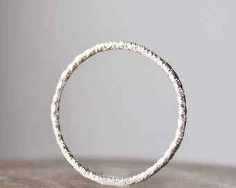 single silver stacking ring, faceted sterling single thin silver ring, skinny ring