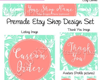 Mint Coral Etsy Shop Cover Photo Banner, Coral and Mint Banner, Chic Etsy Cover, Vine Shop Banner, Coastal Chic Banner, Bridal Boutique