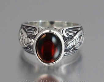 GUARDIAN ANGELS silver ring with Garnet (sizes 5 to 8.5)