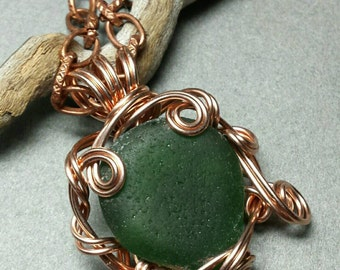 Mythos Greek Sea Glass Pendant Wrapped with Sculpted Rose Gold Wire
