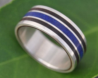Lapis Lazuli Stone and Wood Ring - Meridian Lapis Coyol - recycled sterling silver ecofriendly wood wedding band