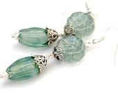 50 PERCENT OFF Blue Green Flower Earrings,  Lampwork Floral Beads, Blue, Sparkling Green