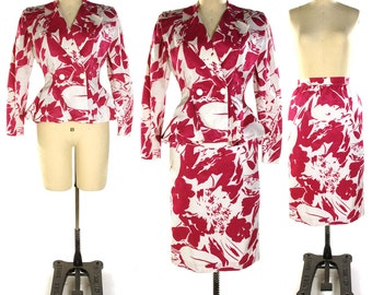 VICTOR COSTA Suit / Peplum Blazer & Pencil Skirt Set in Abstract Floral Pattern / Vintage 1980s Dressy Avant Garde Suit