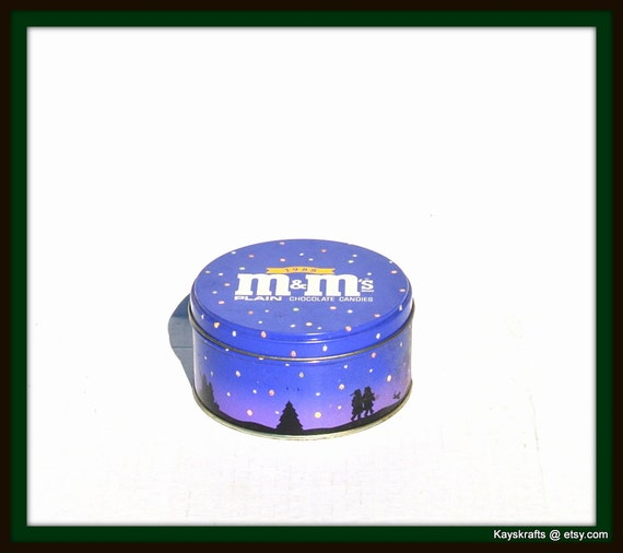 Vintage 1988 Blue M And M Chocolate Candy Tin Home By