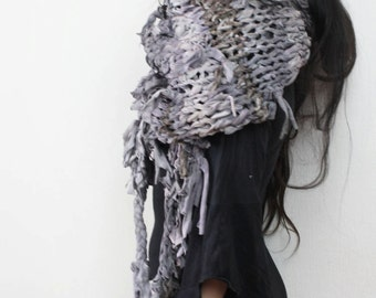 oversize heavy cotton knit scarf // continuum