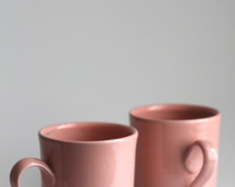 Pink mug in dark stoneware clay