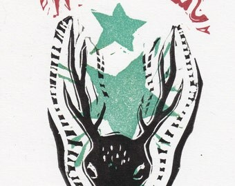 WILLKOMMEN German Welcome Linocut Deer Art Hand Printed Limited Edition snow winter art forest animal grimm fairy tale funky new years xmas