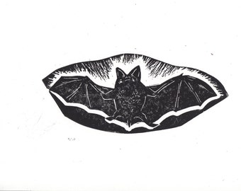 Friendly Flying Bat adorable creature of the night original limited edition black and white linocut