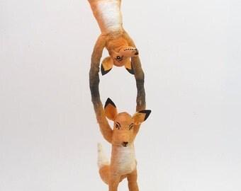 Spun Cotton Vintage Style Woodland Circus Acrobat Foxes Figure