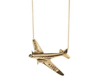 Big Wanderlust Plane Necklace- Gold Chain