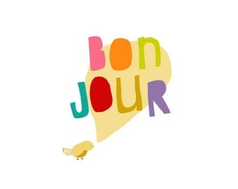 Illustration Print - Bird Drawing - French - Typographic - digital illustration print - studio mela -  LITTLE BONJOUR