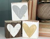 HEART Blocks | 3 colors GOLD/grey/white | Handpainted | Valentine's Day Gift | Wedding Baby  Birthday Gift | Home DECOR | mantle bookshelf