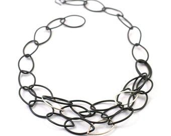 "black steel and silver chain link multi strand necklace - original Susan ""little black necklace"" by megan auman"