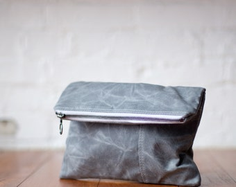 waxed canvas clutch - The Envelope Clutch no.1 - in gray
