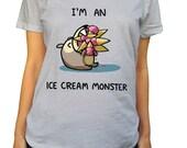 I'm An Ice Cream Monster Scoop Neck Tshirt - Cute Bear Foodie Shirt
