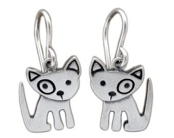 Little Spot Dog Earrings - Sterling SIlver Dog Earrings