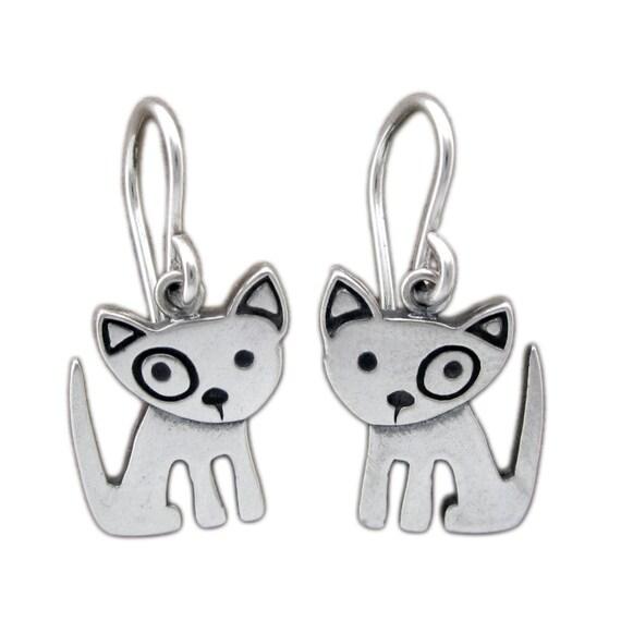 Little Spot Dog Earrings - Sterling SIlver Dog Earrings