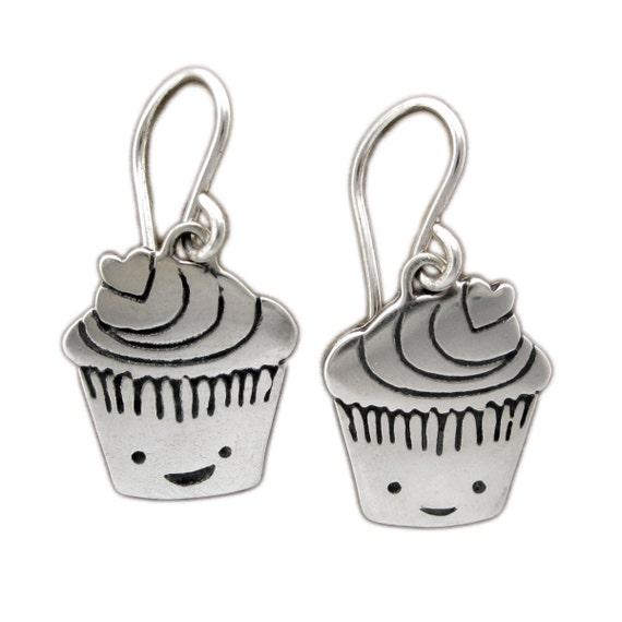 Little Cupcake Earrings - Sterling Silver Muffin Earrings