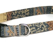 XS Dog Collar - Tan and Navy Vintage Paisley - Extra Small, Teacup, Miniature - Fancy, Soft and Handmade