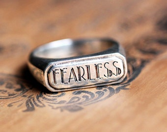 Modern silver signet ring, womens signet ring, custom signet ring, antique signet ring, signet ring women, fearless ring, recycled, custom