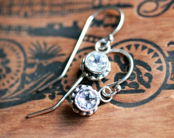 White topaz earrings, bezel earrings, gemstone dangle earrings, bezel gemstone earrings, diamond drop earrings, wife gift for her, crush