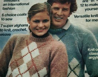 Knitting Patterns 108 Fashions & Crafts Family Circle Vol 5 No 4 Sweater Afghan Cardigan Men Women Crochet Vest Paper Original NOT a PDF