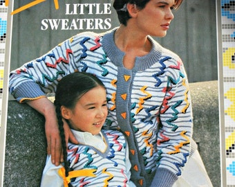 Sweater Knitting Patterns Sasha Kagan's Big & Little Sweaters Cardigan Men Women Children Vintage Paper Original NOT a PDF