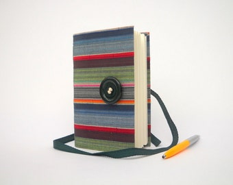 Blue grey stripes journal diary notebook, Writing lined handmade journal men gift, rustic stripes journal, winter student gift college gift