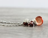 Red and Orange Necklace, Orange Gemstone Necklace, Red Garnet Necklace, Bright Orange Necklace, Wire Wrap Necklace, Sterling Silver