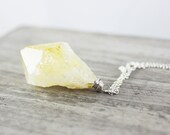 Raw Citrine Necklace, Citrine Gemstone Necklace, Raw Gemstone Necklace, Sterling Silver Necklace, Large Pendant Necklace, Wire Wrap Necklace