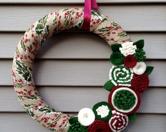 Christmas Wreath Wrapped in Ribbon decorated w/ Felt Flowers. Holiday Wreath - Christmas Wreath - Ribbon Wreath - Felt Wreath - Holly Wreath