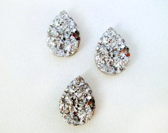 10 silver resin drusy cabochons, teardrop shaped druzy cabs, E162