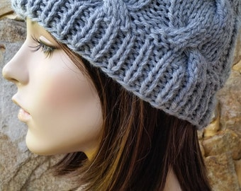 hand knit cable hat ~ chunky knit beanie cable ~ smoke grey