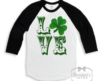 Irish Girl Shirt - St Patrick Shirt - Black White Baseball - LOVE Shamrock Shirt - Saint Patricks Day - Boy Irish Custom Size Retro Vintage