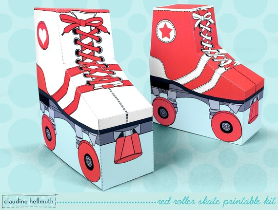 red roller skates - favor boxes fit gift cards, candy, cookies and more party printable PDF kit - INSTANT download