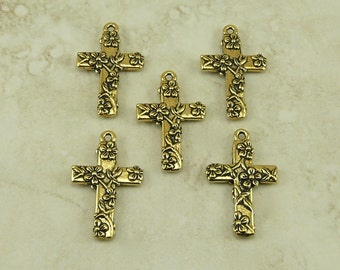 5 TierraCast Floral Flower Cross Charms > Spring Easter Religion Catholic -22kt Gold Plated LEAD FREE Pewter - I ship Internationally 2196
