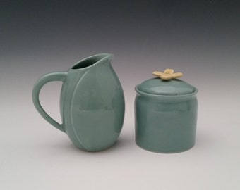 Sugar and Creamer Ceramic Set with Dogwood Flower for Hostess Entertaining, Kitchen, Dining