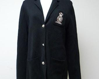 RALPH LAUREN . crest on chest . dark blue cardigan . medium petite