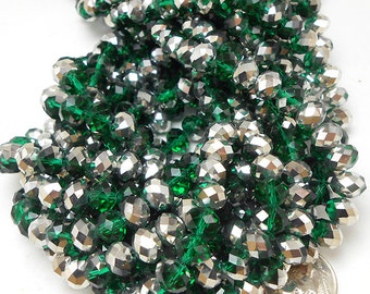 20 Green, Silver Faceted Glass Rondelle Beads 8x6mm (H1751)