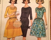 1960's Dress Draped Cowl Neck Pattern Vintage McCall's 7366
