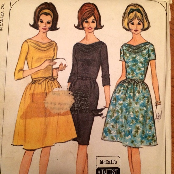 Draped Cowl Neck Dress: 1960's Dress Draped Cowl Neck Pattern Vintage McCall's