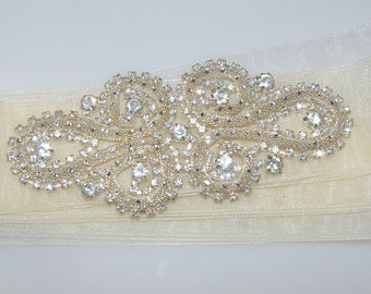 Ivory Austrian Crystal Bridal Sash, Bridal Belt, Crystal Sash, Crystal Belt, Wedding Dress Sash